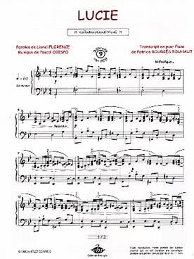 partition piano pascal obispo lucie gratuite