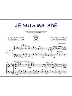 Diam partitions chansons de vari t s arrang es pour piano solo lama je suis malade - Je suis malade chanson ...