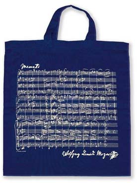 Illustration sac-partition bleu partition de mozart