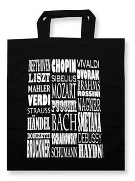 Illustration sac-partition noir motif compositeurs