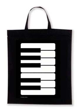 Illustration sac-partition motif piano sur fond noir